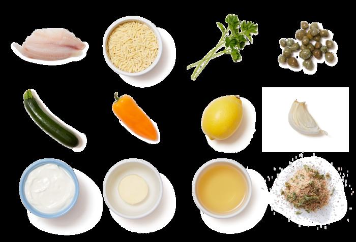 Lemon-Caper Tilapia with Zucchini & Pepper Orzo