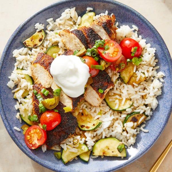 Seared Chicken & Spicy Tomato Salsa with Jasmine Rice & Zucchini