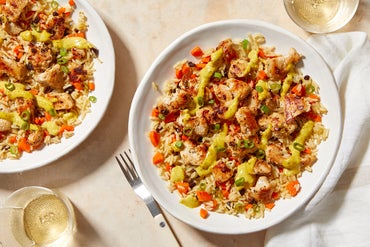 Chicken & Curry Mustard with Carrot & Currant Rice
