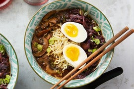 Mushroom & Barley Miso Ramen with Smoked Dulse & Spicy Red Cabbage