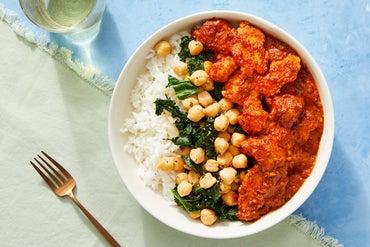 Tasty Kabob-Style Curry Chicken & Rice with Sautéed Kale & Chickpeas