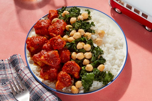 Tasty Kabob-Style Curry Chicken & Rice with Sautéed Kale & Chickpeas