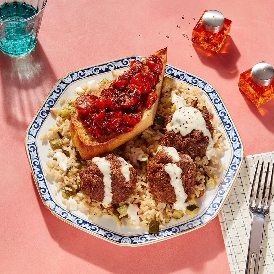 Jaleo-Inspired Meatballs & Rice with Pan Con Tomate & Saffron Mayo