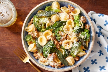 Hot Italian Pork Sausage & Pasta with Broccoli & Fried Sage