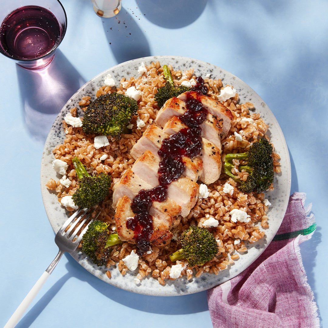 Oregon Wine Country-Inspired Pork Chops & Farro with Sour Cherry Pan Sauce