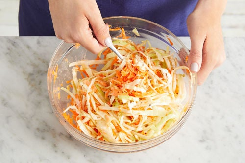 Make the dressing & slaw: