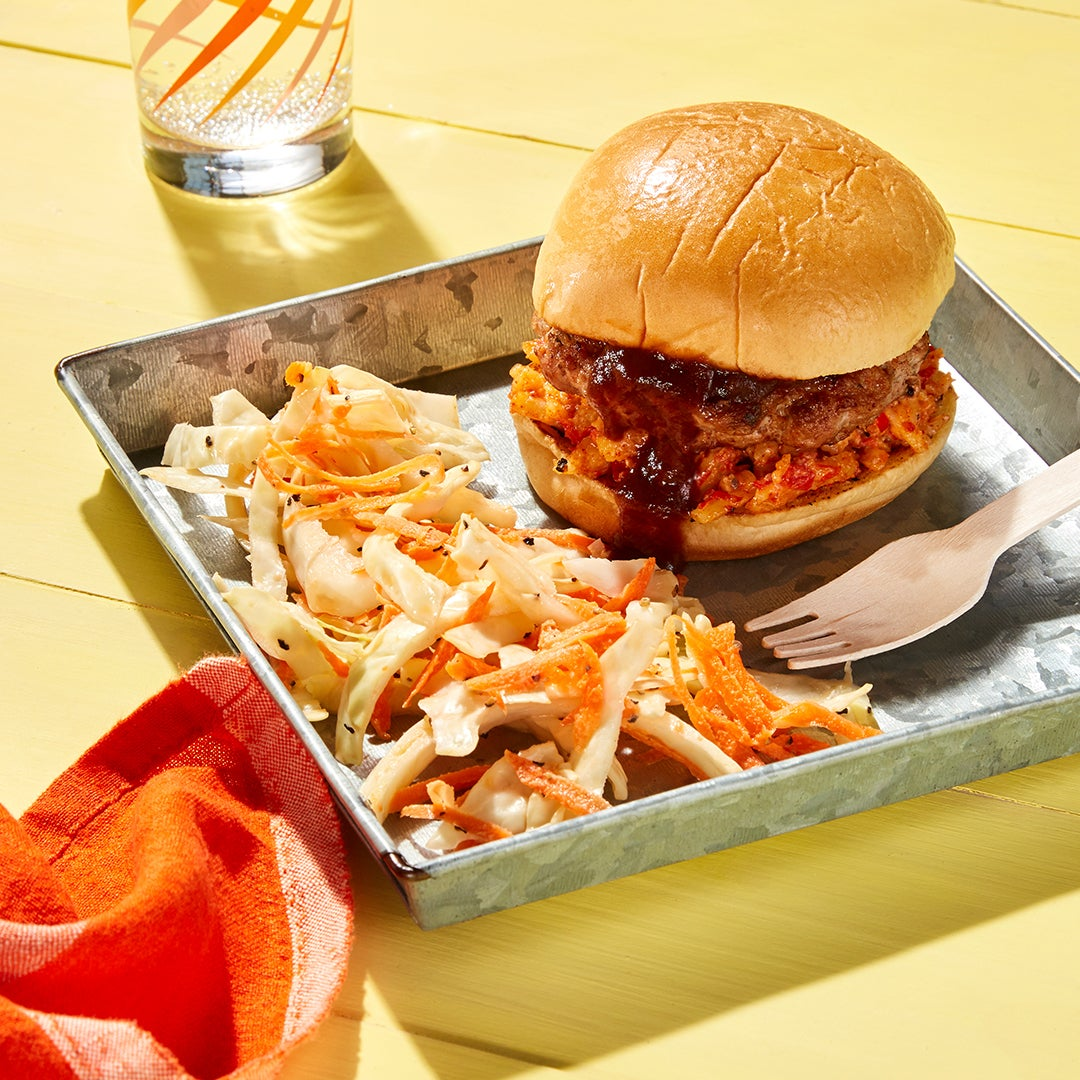 Martin's Bar-B-Que-Inspired Pork Burgers with Pimento Cheese