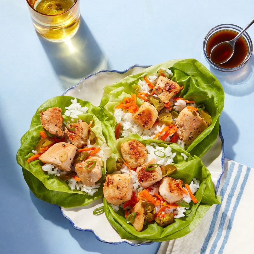 Portland-Inspired Chicken Lettuce Cups with Jasmine Rice & Garlic-Soy Sauce
