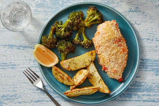 Calabrian Chile Baked Chicken with Oregano Potatoes & Lemon-Dressed Broccoli