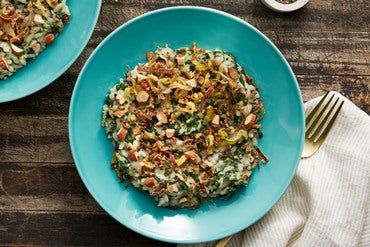 Spinach Risotto with Fried Leek & Mascarpone