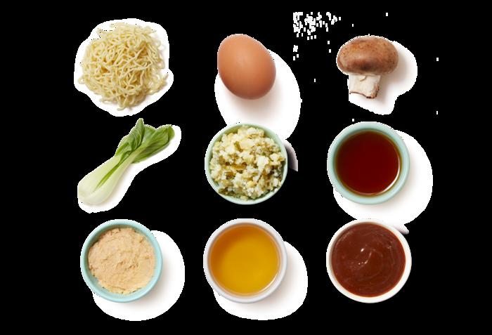 Miso Ramen & Soft-Boiled Eggs with Mushrooms & Bok Choy