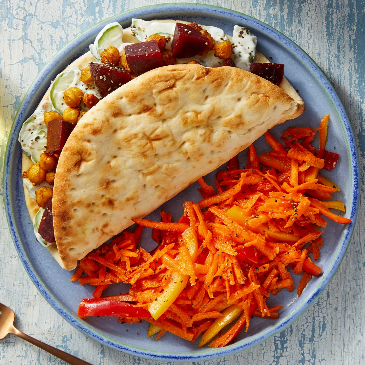 Curry Chickpea Pitas with Carrot-Pepper Salad