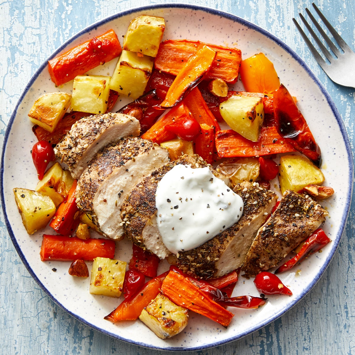 Za'atar Chicken & Roasted Vegetables with Tzatziki