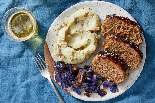Hoisin-Glazed Meatloaf with Miso Mashed Potatoes & Roasted Cabbage