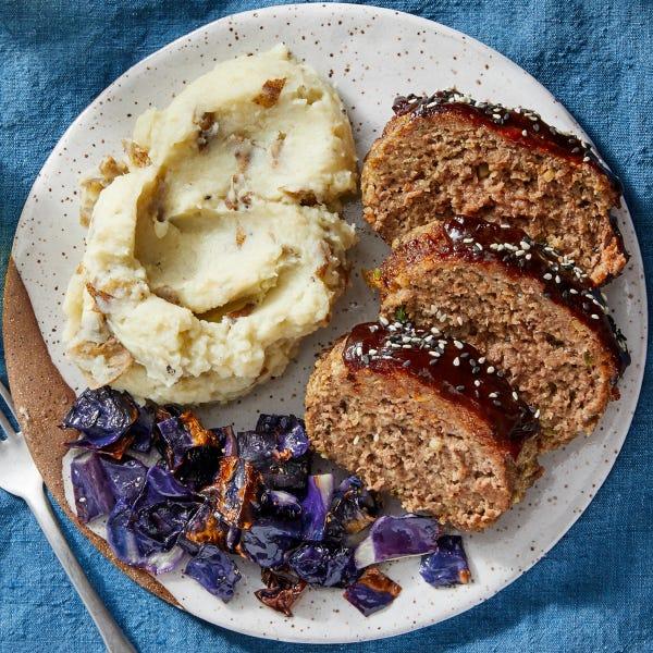Hoisin-Glazed Meatloaf with Miso Mashed Potatoes & Roasted Cabbage