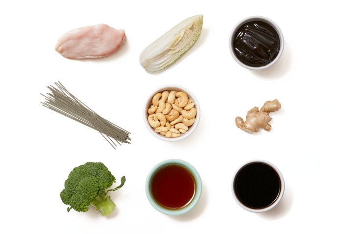 Soy-Glazed Chicken with Soba Noodles,  Broccoli & Cashews