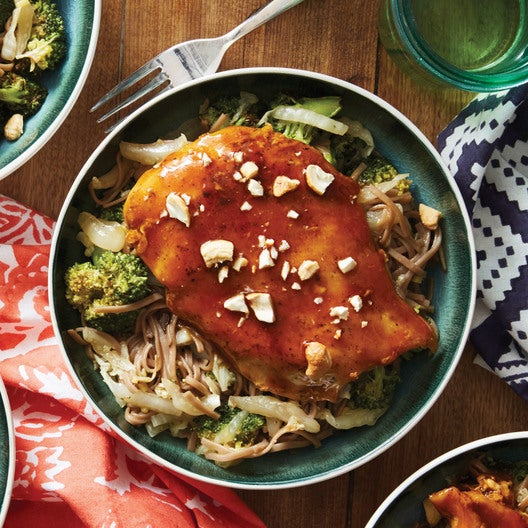 Soy-Glazed Chicken with Soba Noodles,  Broccoli & Cashews