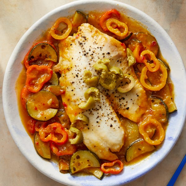 Italian-Style Poached Tilapia with Sweet Peppers, Zucchini & Yellow Tomatoes