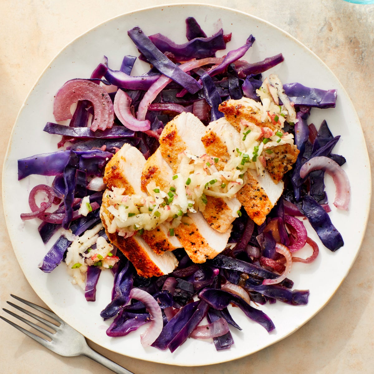 One-Pan Pork Chops & Sautéed Cabbage with Marinated Apple