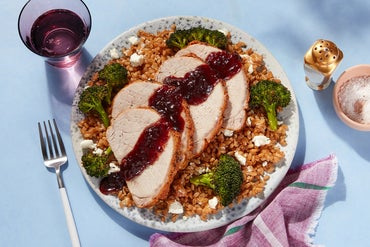 Oregon Wine Country-Inspired Pork Roast & Farro with Sour Cherry-Verjus Sauce