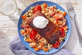 Seared Salmon & Lemon Yogurt over Carrot & Currant Couscous