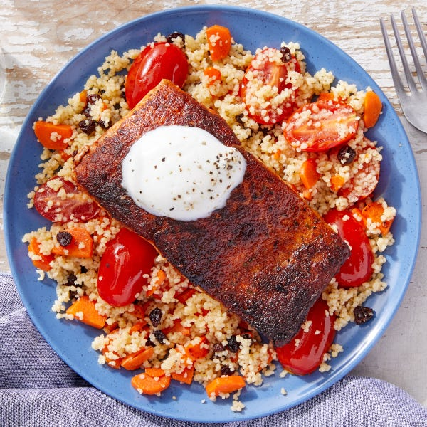 Seared Salmon & Lemon Yogurt over Carrot & Currant Couscous