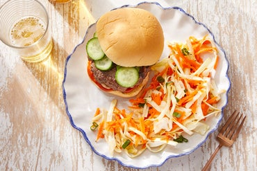 Korean-Style Burgers with Marinated Cucumber & Sesame-Dressed Slaw