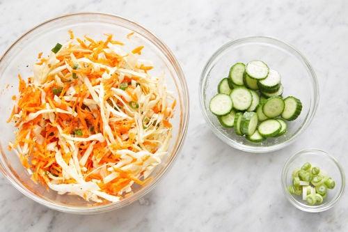 Prepare the ingredients & make the slaw: