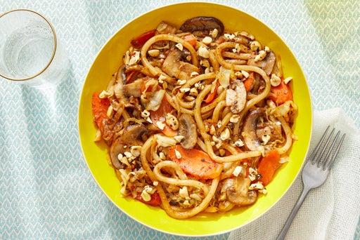 One-Pan Vegetable Udon with Furikake Peanuts