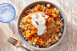 Seared Chicken & Currant Couscous with Tomato Chutney-Glazed Apple