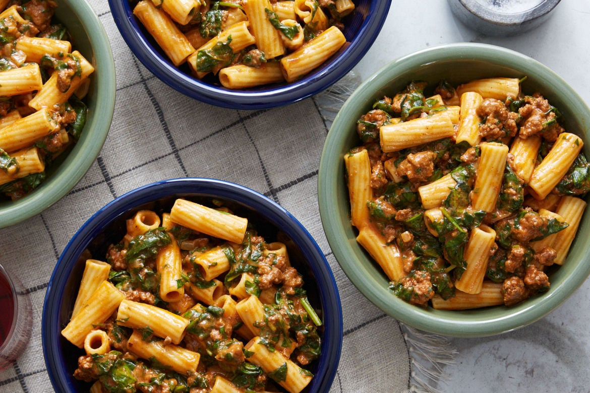 Blue apron website - Creamy Beef Rag Elicoidali Pasta With Spinach Cheddar Cheese