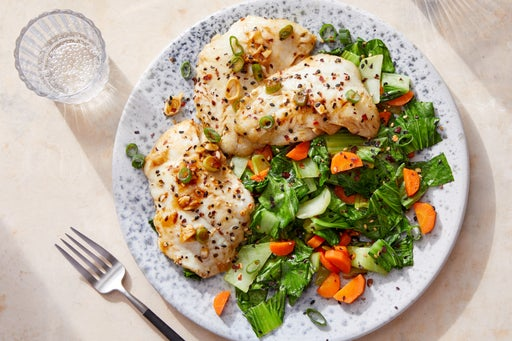 Hoisin-Glazed Wild Alaskan Pollock with Sesame Bok Choy & Carrots
