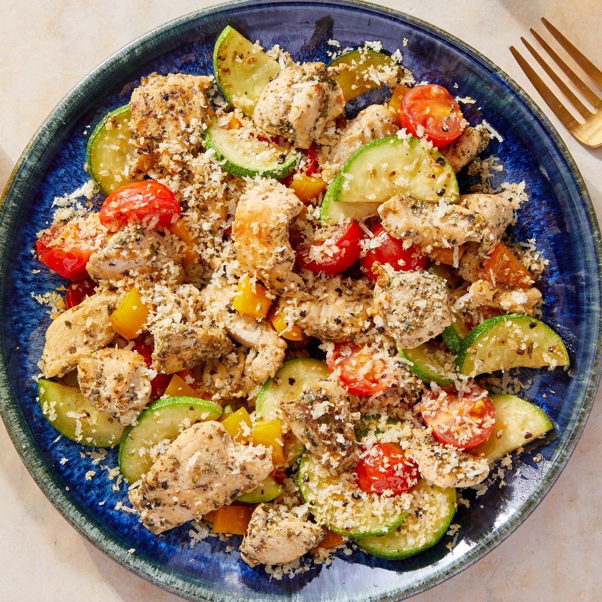 Italian Chicken & Vegetable Sauté with Grana Padano Breadcrumbs