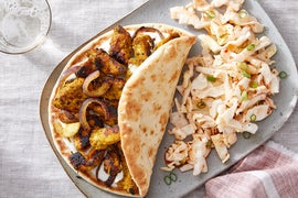 Curry Chicken Pitas with Cucumber Yogurt & Sweet Chili Slaw