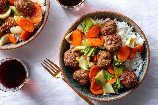 Orange-Glazed Meatballs with Bok Choy & Jasmine Rice