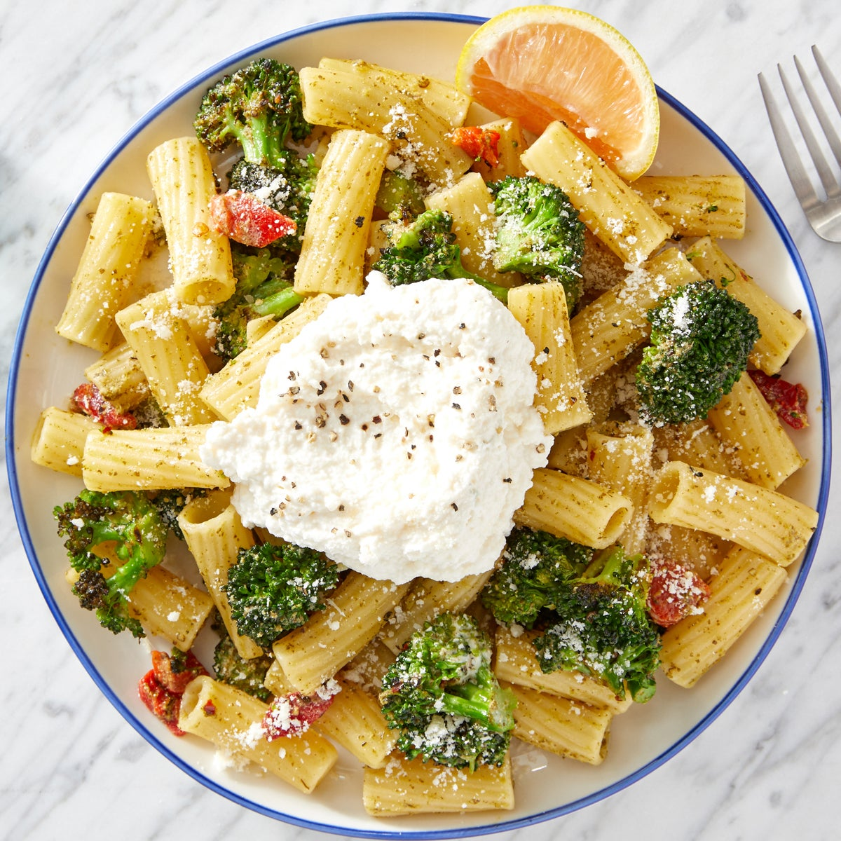 Pesto Pasta with Broccoli & Lemon Ricotta