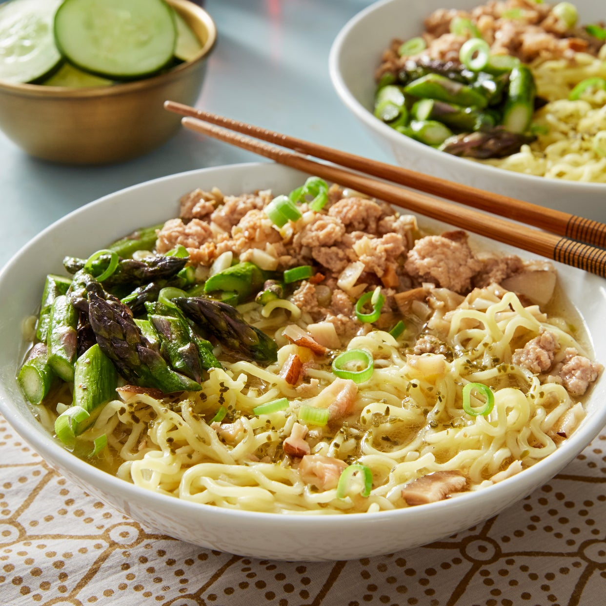 Pork & Miso Ramen with Asparagus & Marinated Cucumber
