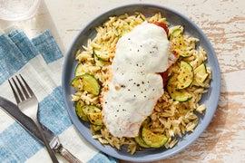 Mozzarella & Tomato Baked Chicken with Orzo & Zucchini