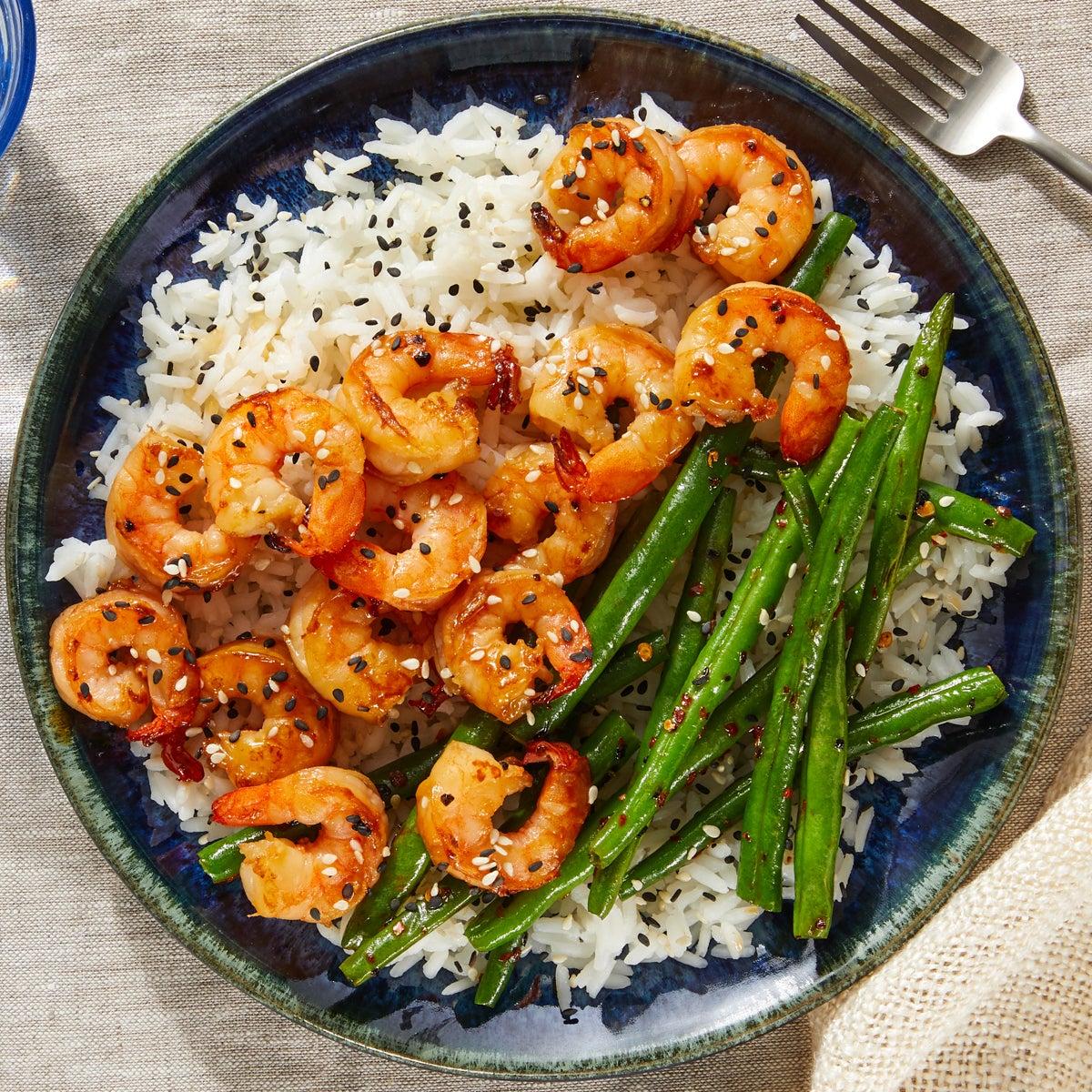 Shrimp Teriyaki with Spicy Green Beans & Jasmine Rice