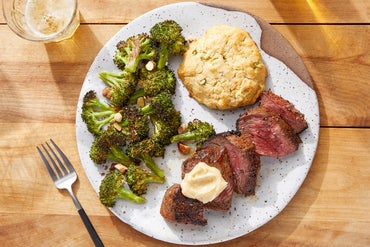 Cajun-Spiced Steaks & Biscuits with Roasted Broccoli & Maple Butter