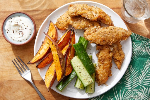 Crispy Za'atar Chicken Tenders with Sweet Potatoes & Preserved Lemon Labneh