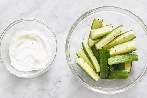 Marinate the cucumbers & make the lemon labneh: