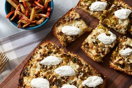 Melted Leek & Fontina Focaccia Pizzas with Brussels Sprouts & Lemon Ricotta