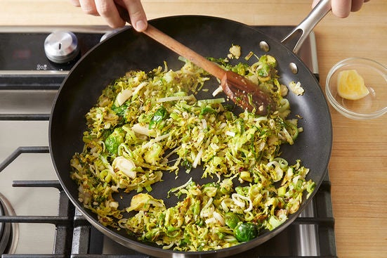 Cook the Brussels sprouts & leek: