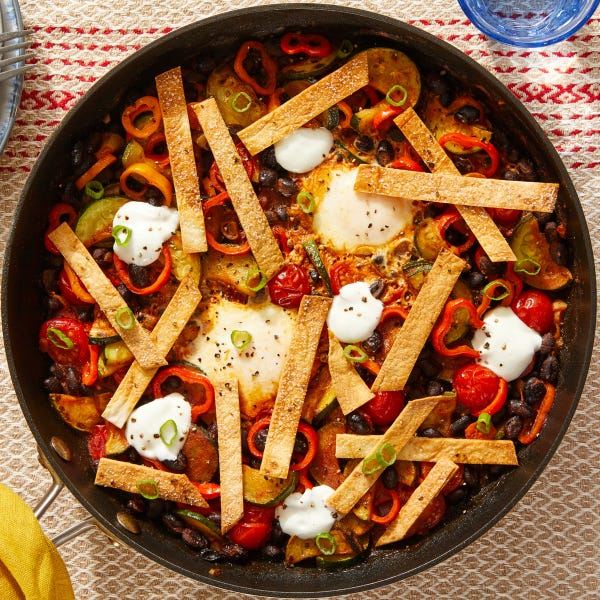 Mexican-Style Egg & Vegetable Skillet with Oven-Toasted Tortilla Strips