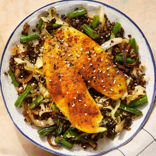 Curried Tilapia & Black Lentils with Sautéed Cabbage & Green Beans