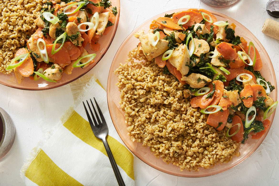 Miso-Butter Chicken with Freekeh & Sautéed Carrots