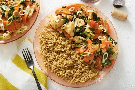 Miso-Butter Chicken with Freekeh & Sautéed Carrots
