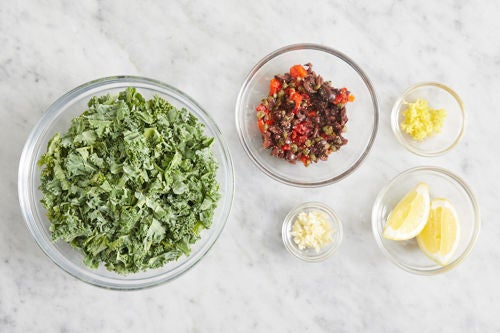 Prepare the remaining ingredients & make the tapenade: