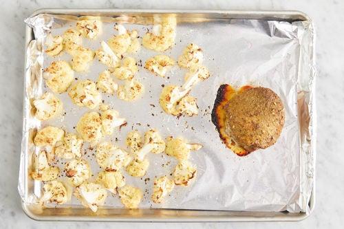 Roast the pork & cauliflower or romanesco: